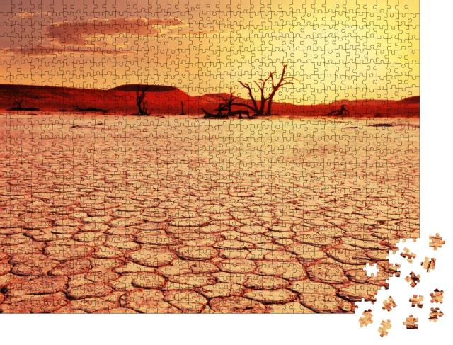 """Puzzle 1000 Teile """"Totes Tal in Namibia, vertrocknete Bäume, Boden aus Stein"""""""
