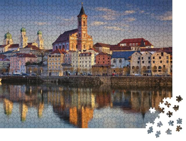 """Puzzle 1000 Teile """"Blick auf Passau bei Sonnenuntergang, Bayern, Deutschland"""""""