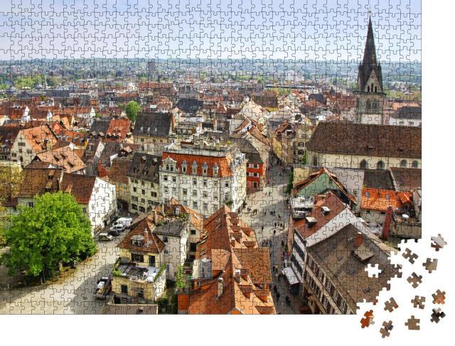 """Puzzle 1000 Teile """"Verbundene Städte: Konstanz in Deutschland und der Kreuzlingen in der Schweiz"""""""