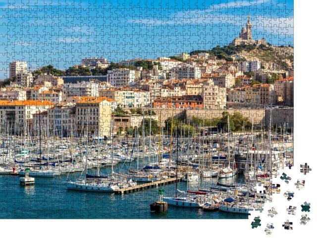 """Puzzle 1000 Teile """"Basilika Notre Dame de la Garde und alter Hafen in Marseille, Frankreich"""""""