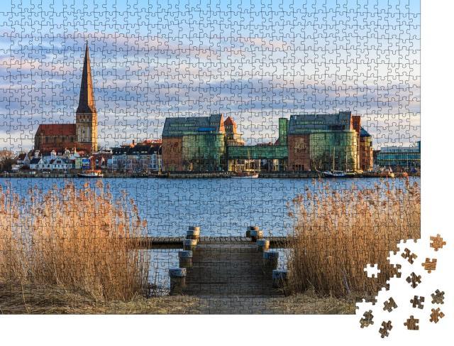 """Puzzle 1000 Teile """"Blick über Warnow nach Rostock, Deutschland"""""""