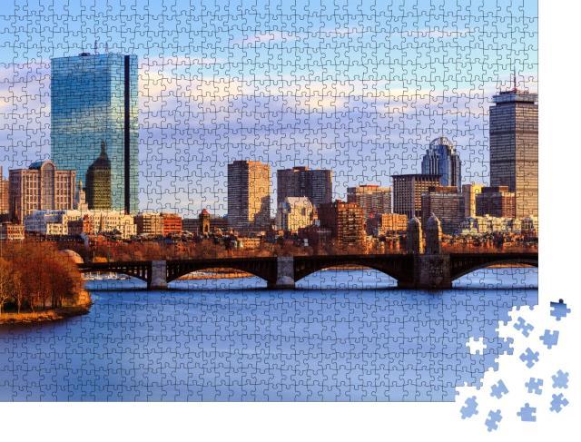 """Puzzle 1000 Teile """"Skyline von Back Bay in Boston im Sommer"""""""