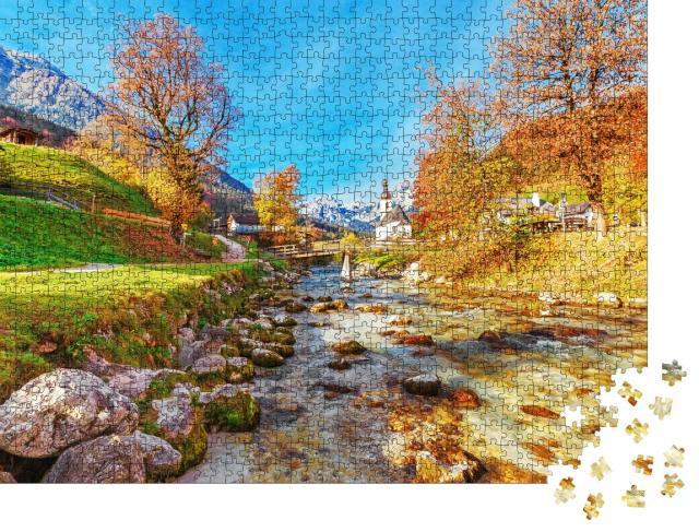 """Puzzle 1000 Teile """"Herbstlandschaft des Nationalparks Ramsau, Oberbayern, Deutschland"""""""