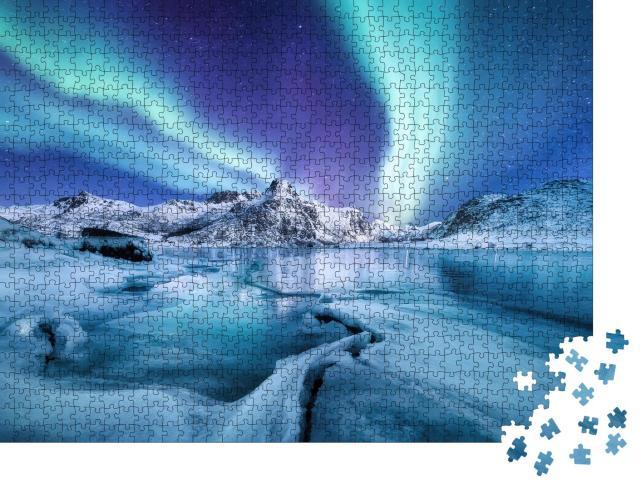 """Puzzle 1000 Teile """"Nordlichter über den Lofoten, Norwegen"""""""