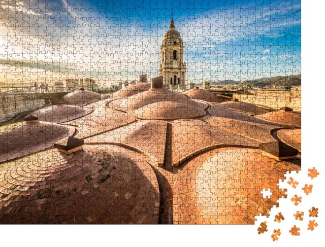 """Puzzle 1000 Teile """"Sonnenuntergang auf dem Dach der Kathedrale von Malaga, Spanien"""""""