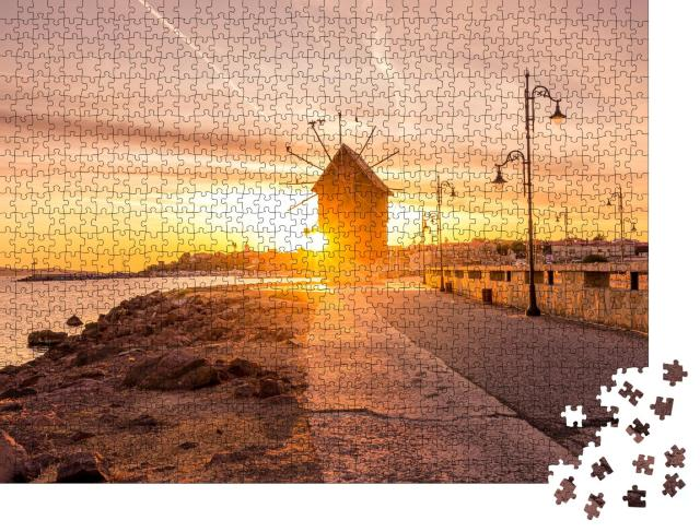 "Puzzle 1000 Teile ""Alte Windmühle bei Sonnenaufgang, Nesseba, Bulgarien"""