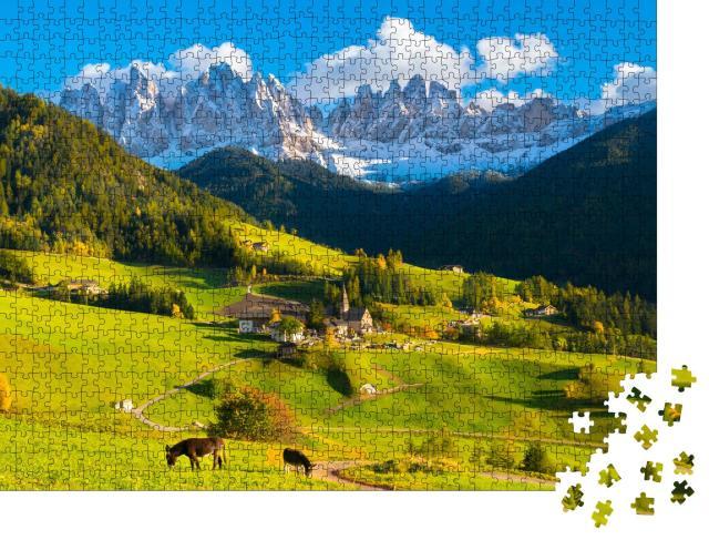 """Puzzle 1000 Teile """"Santa Maddalena; schöner Sonnenuntergang im Trentino, Italien"""""""