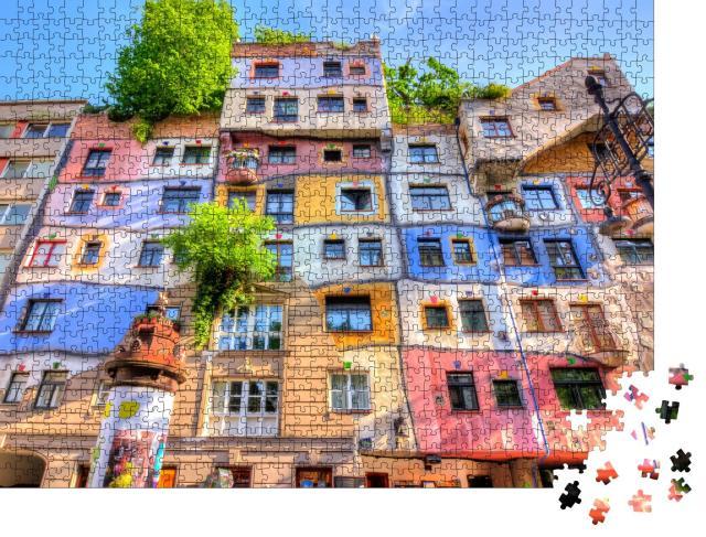 """Puzzle 1000 Teile """"Hundertwasserhaus in Wien, Österreich"""""""