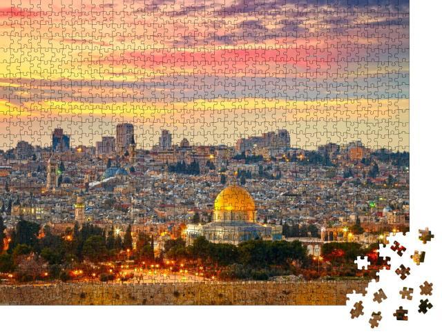 """Puzzle 1000 Teile """"Panoramablick auf die Altstadt von Jerusalem, Israel"""""""