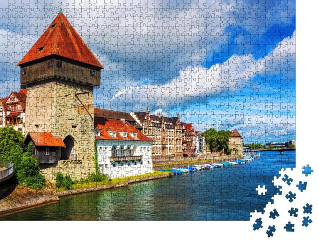 """Puzzle 1000 Teile """"Mittelalterlicher Rheintorturm in der Stadt Konstanz"""""""