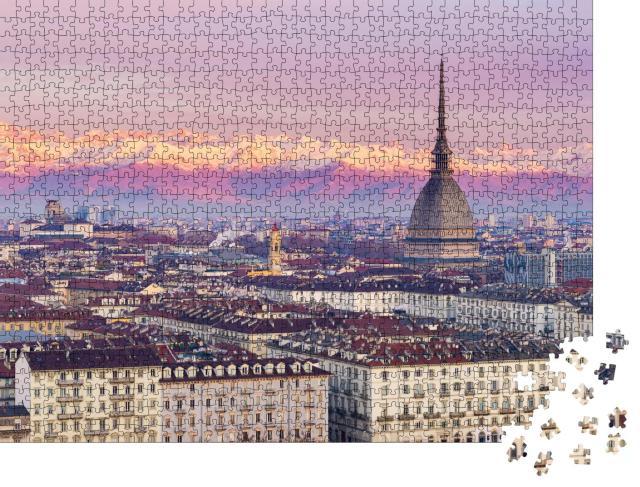 """Puzzle 1000 Teile """"Über den Dächern von Turin, im Hintergrund die italienischen Alpen"""""""