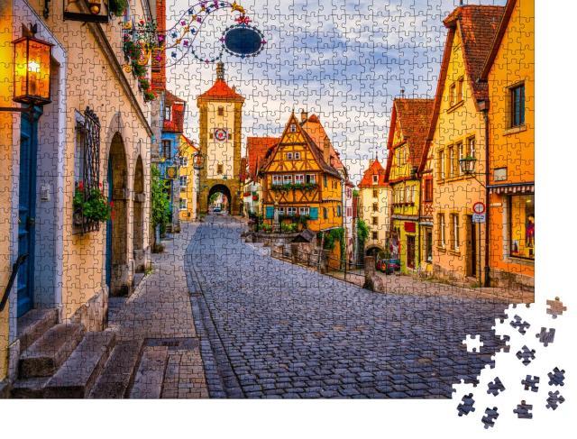 """Puzzle 1000 Teile """"Morgenansicht der Unteren Schmiedgasse, Rothenburg ob der Tauber, Bayern"""""""