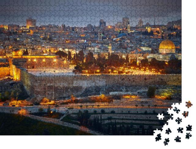 """Puzzle 1000 Teile """"Abendlicher Blick auf die Altstadt von Jerusalem. Israel"""""""