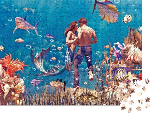 """Puzzle 1000 Teile """"Digitale Kunst: Mann und Meerjungfrau - eine Liebesgeschichte"""""""