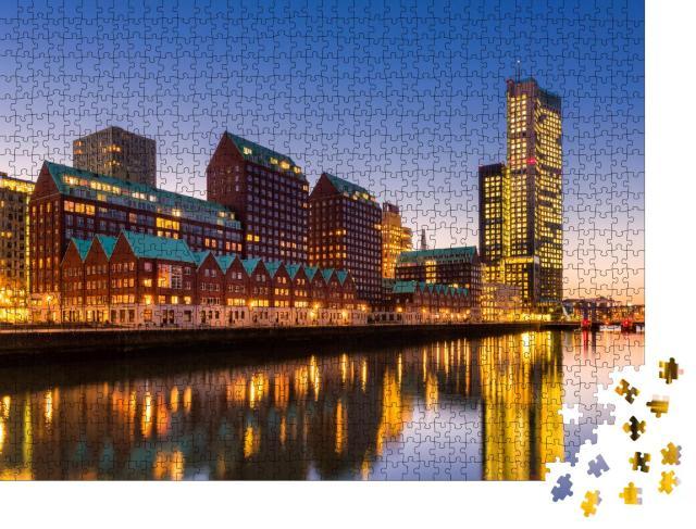 """Puzzle 1000 Teile """"Moderne Architektur und Skyline von Rotterdam, Niederlande"""""""