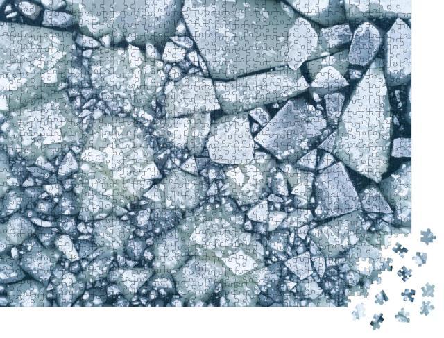 """Puzzle 1000 Teile """"Weißes Eis und dunkles Wasser im Winter"""""""