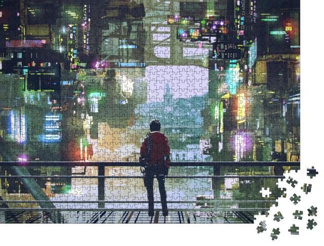 """Puzzle 1000 Teile """"Digitale Kunst: Blick durch die futuristische Stadt"""""""