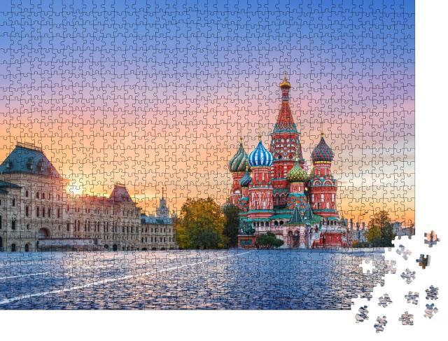 """Puzzle 1000 Teile """"Basilius-Kathedrale auf dem Roten Platz in Moskau bei Herbstsonne, Russland"""""""
