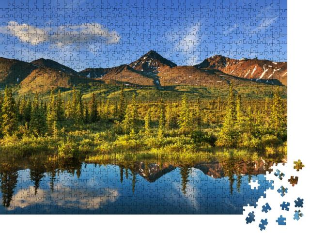 """Puzzle 1000 Teile """"Ruhiger See in der Tundra, Alaska"""""""