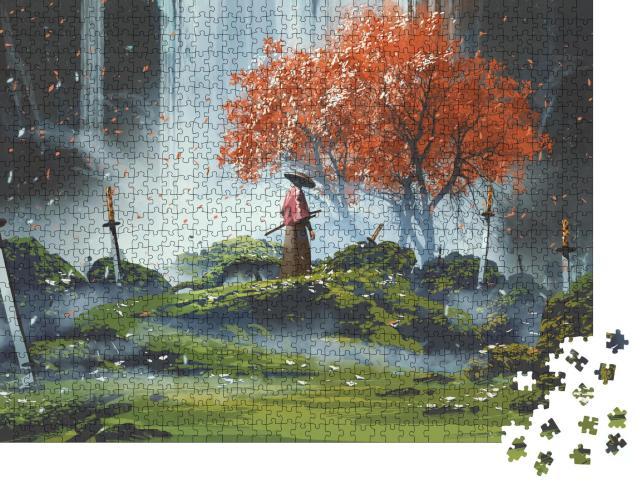 """Puzzle 1000 Teile """"Samurai stehend in einem Garten mit Wasserfall, Schwerter auf dem Boden"""""""