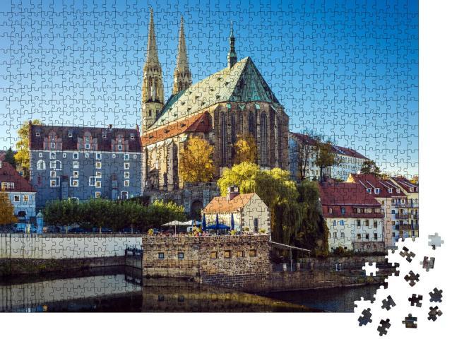 """Puzzle 1000 Teile """"Blick auf die Peterskirche an der Neiße in Görlitz, Deutschland"""""""