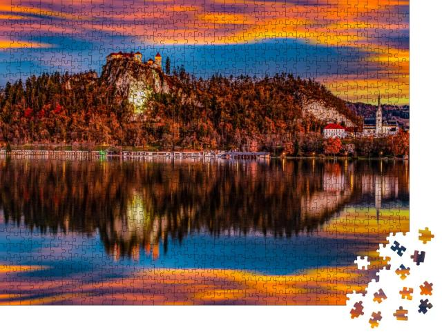 """Puzzle 1000 Teile """"der wunderschöne slowenische See im Herbst"""""""