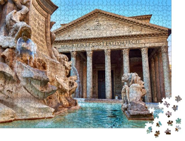 """Puzzle 1000 Teile """"Ansicht des Brunnens beim Patheon in Rom"""""""