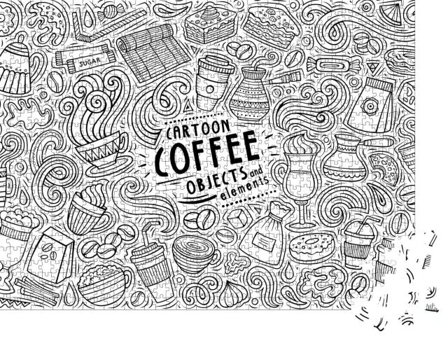 "Puzzle 1000 Teile ""Sketchy Vektor: Elemente zum Thema Kaffee"""