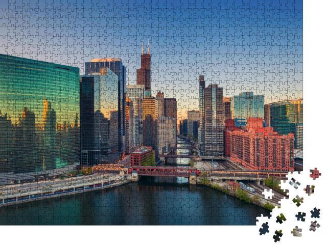 """Puzzle 1000 Teile """"Chicago in der Morgendämmerung, Illinois, USA"""""""