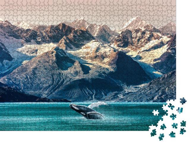 """Puzzle 1000 Teile """"Whale Watching: Bootsausflug entlang der Küste in Alaska"""""""