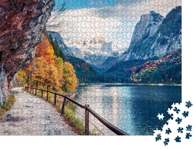 """Puzzle 1000 Teile """"Friedliche Herbstszene am Dachstein-Gletscher, Österreich"""""""