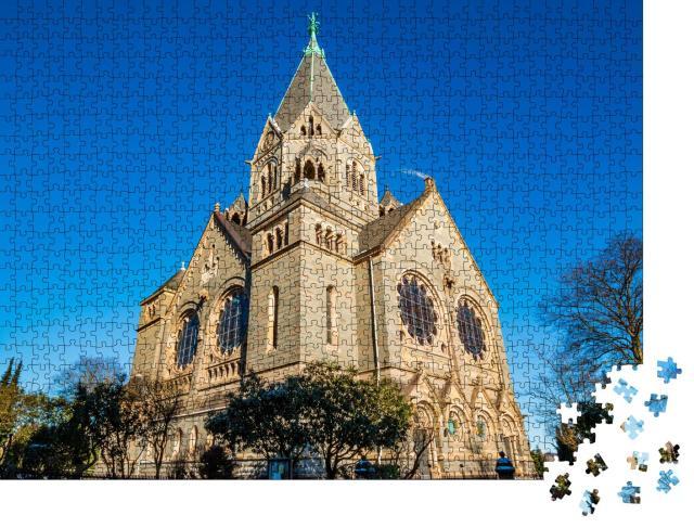 """Puzzle 1000 Teile """"Friedhofskirche im nördlichen Teil von Wuppertal Elberfeld"""""""