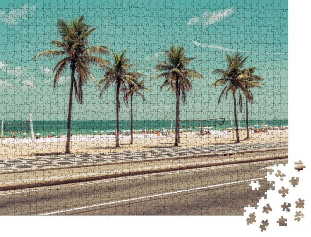 """Puzzle 1000 Teile """"Palmen am Strand von Ipanema in Rio de Janeiro, Brasilien"""""""