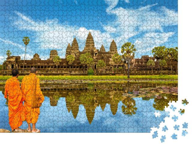 """Puzzle 1000 Teile """"Angkor Wat: Tempelanlage und größtes religiöses Monument der Welt, Kambodscha"""""""
