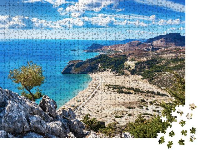 """Puzzle 1000 Teile """"Strand mit goldenem Sand: Tsambika, Rhodos, Griechenland"""""""