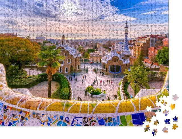 """Puzzle 1000 Teile """"Blick auf die Stadt vom Park Güell in Barcelona, Spanie"""""""