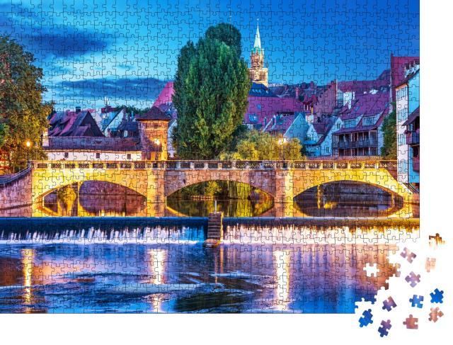"""Puzzle 1000 Teile """"Sommernacht in der Altstadt von Nürnberg, Deutschland"""""""
