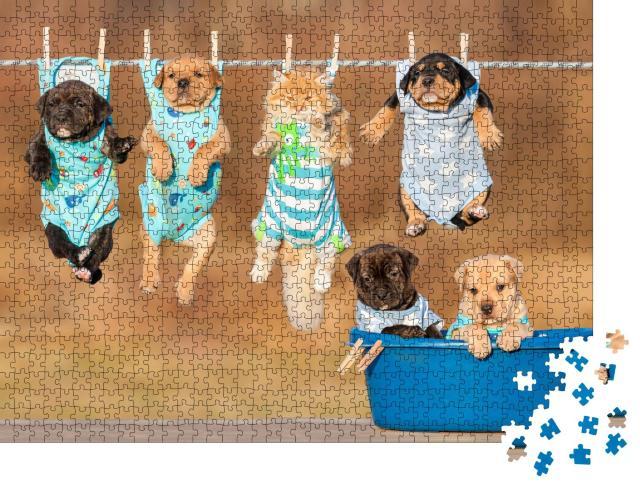 """Puzzle 1000 Teile """"Lustige Gruppe von Tierkindern"""""""
