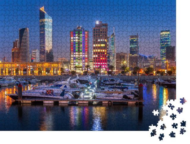 """Puzzle 1000 Teile """"Skyline von Kuwait-Stadt am Abend"""""""