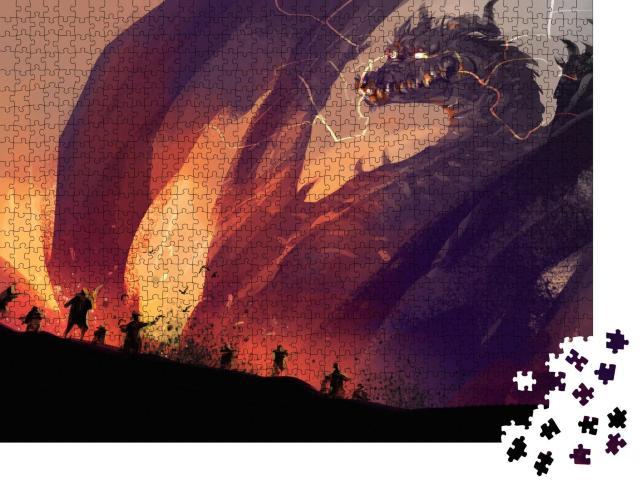 """Puzzle 1000 Teile """"Völker gegen einen riesigen Drachen mit Stadt in Trümmern"""""""