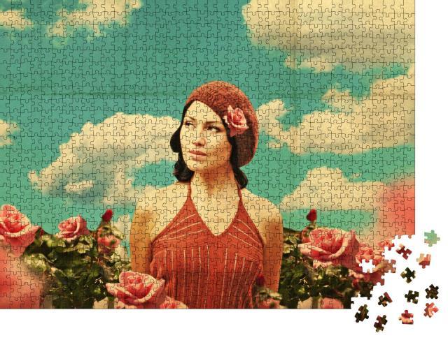 """Puzzle 1000 Teile """"Vintage-Collage mit Schönheit, junge Frau in Rosen, Retro-Muster"""""""