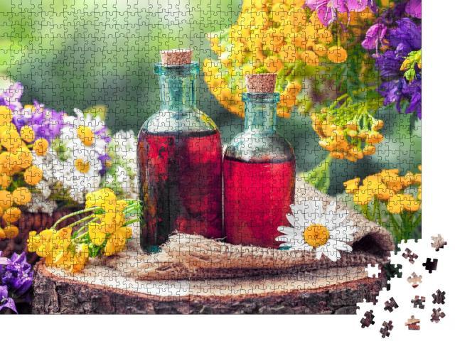 """Puzzle 1000 Teile """"Tinkturen aus Heilkräutern und Wildblumen"""""""