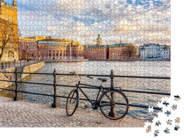 """Puzzle 1000 Teile """"Blick auf das Parlamentsgebäude Riksdagshuset von Stockhom, Schweden"""""""