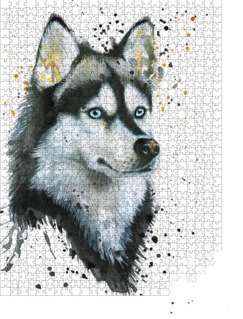 """Puzzle 1000 Teile """"Aquarell Illustration eines Huskys, handgezeichnet"""""""