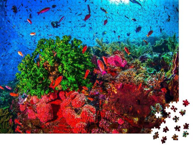 """Puzzle 1000 Teile """"Unterwasser-Korallenlandschaft: Korallenfische, Meeresleben, Unterwasserwelt"""""""