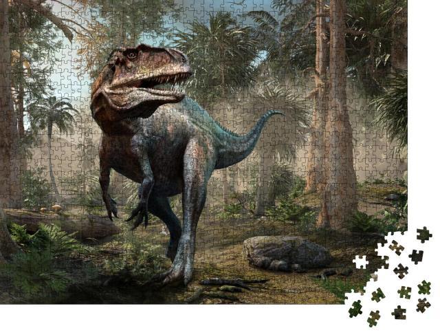 """Puzzle 1000 Teile """"Acrocanthosaurus, Wald-Szene, 3D-Illustration"""""""