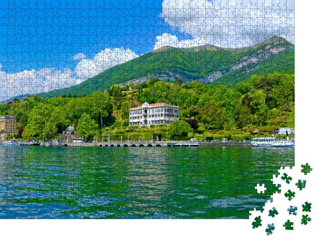 """Puzzle 1000 Teile """"Sonniges Panorama am Comer See mit Ausflugsboot"""""""