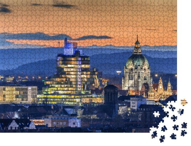 """Puzzle 1000 Teile """"Luftbild von Hannover am Abend, Niedersachen"""""""