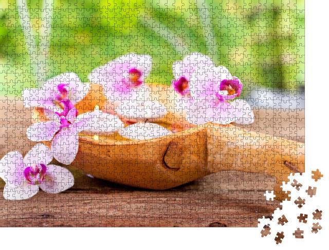"""Puzzle 1000 Teile """"Kerzen, Orchidee: Konzept für Gesundheit, Spa"""""""