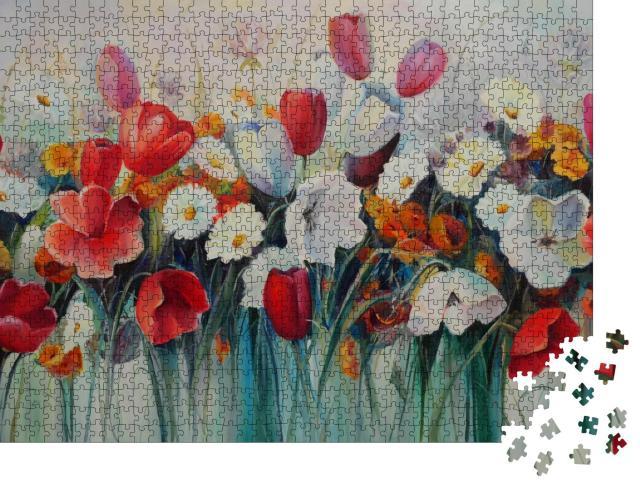 """Puzzle 1000 Teile """"Ölgemälde: rote und weiße Tulpen"""""""